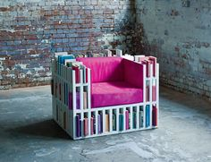 I love this idea - a bookcase which is also a chair.