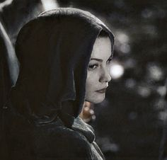 Arwen leaving Rivendell at night, with the shadows growing longer.
