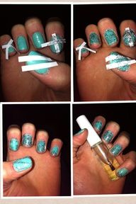 This is a very cool way to do your nails for any occasion here are the steps  1- paint your nails any color you would like  2- let them air dry over night  ( it works a lot better for me, but if you wanted to do the design right then that works to)   3- then cut tape in half approximately the same size but if you have sticky tracer that works to (thats what I used, but honestly they work exactly the same)   4- then go CRAZY and make any design you want   5- then paint a different color on