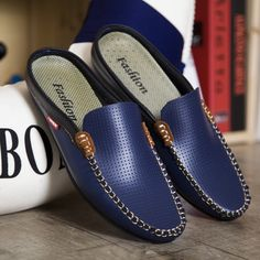 Luxury Brand Shoes Summer Men Shoes Backless Loafers Open Backs Shoes Without Back Breathable Leather Men Driving Shoes Comfy