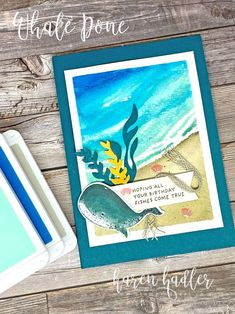 Color Tag, Colour, Summer Is Here, Shaker Cards, Beach Scenes, Christmas Tag, Watercolor Background, Color Themes, How To Introduce Yourself