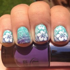 Please excuse my disgusting cuticles. I did these at my mom's and clearly didn't do a very good job with the clean up. :(    So… which of these do you like best? Do you like the accent nail look, or just the Hawaiian flower design? I'm pretty sure she's going to go with the accent nail, but you never know. How do you feel about nail art being immortalized in wedding photos? I myself am pretty hyped!! I think the traditional hand/ring photo is going to be awesome with these nails. She's going…