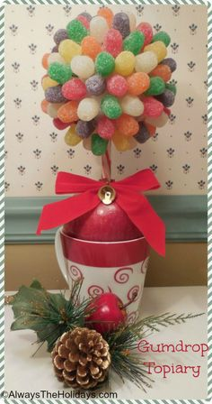 DIY Miniature Gumdrop Topiary - This year's neice and nephew project??  I think so!