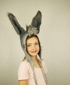 """Donkey inspired Felted carnival hat - Donkey Ears Costume - """"Town Musicians of Bremen"""" Donkey Ears hat - Midsummer Night's - Donkeyskin"""