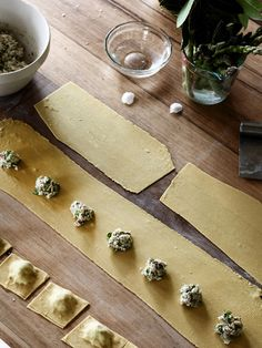 Homemade wild sorrel ravioli in the making in Tamin's kitchen.  Recipe by Tamsin Carvan of Tamsin's Table, styling – Lucy Feagins, photo – Eve Wilson.