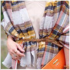 Accessories   Oversized Orange Plaid Blanket Scarf