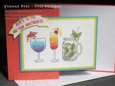 Mixed Drinks, Water Coloring, Water Colouring, Cocktails, 2016-17 Catalogue, Stampin' Up!, Yvonne Pree, Pree Designs