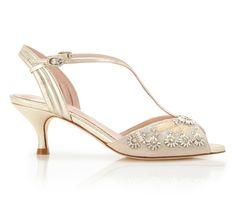 Ella Gold - Bridal Shoe - Blush Kid Suede - Low Heel - Sandal - Mother of Pearl Trim