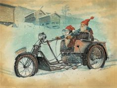 Christmas Car, Christmas Images, Gnome Pictures, Fairy Tale Images, Fantasy Dwarf, Norwegian Christmas, Baumgarten, Christmas Challenge, Unusual Art