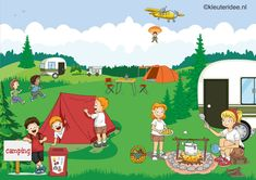 Interactieve praatplaat thema camping, kleuteridee, by juf Petra, met veel informatieve video's voor kleuters Camping Signs, Camping Theme, Hidden Pictures, Pictures To Paint, Picture Composition, Picture Writing Prompts, Old Advertisements, Picture Story, Summer Activities For Kids
