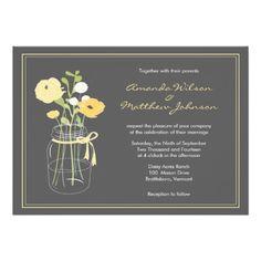 Yellow and Grey Mason Jar Wedding Invitations
