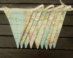 map fabric bunting - map decor -  world map decor - world map bunting - map bunting - travel bunting - globe bunting - atlas bunting
