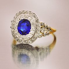 Victorian Sapphire and Diamond target ring by Tiffany & Co. Photo by perrysjewelry
