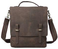 Free shipping Genuine Leather Mens Boy Briefcase Business Bag Messenger Shoulder Bag Satchel 3003