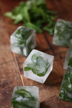 frozen mint leaves are lovely in a glass of water