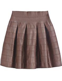 Brown Elastic Striped Pleated Skirt - Sheinside.com   $27.33