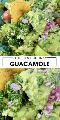 Yummy Recipes, Vegan Recipes, Yummy Food, Chunky Guacamole Recipe, Vegan Meal Prep, Plant Based Recipes, Cilantro, Dips, Veggies