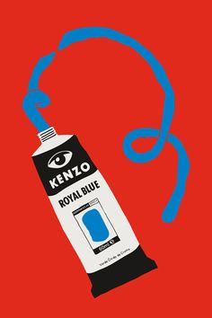 Kenzo, Royal Blue. Pop art, paint tube, illustration.