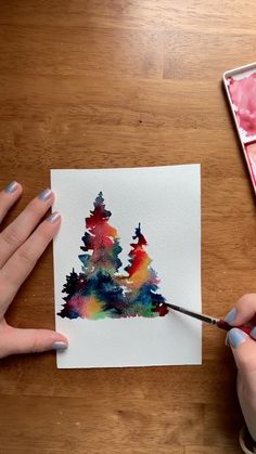 Watercolor rainbow pine trees 🌲 Sometimes magic happens when you put two awesome watercolor painting techniques together: rainbow galaxies + loose pines! I have a class for both ❤️ Click this link for my loose pines class! Watercolor Painting Techniques, Watercolour Tutorials, Painting & Drawing, Watercolor Beginner, Watercolor Art Lessons, Paint Techniques, Painting Videos, Painting Tutorials, Body Painting