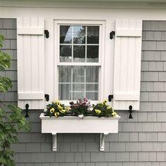 Cottage Shutters, Farmhouse Shutters, Cottage Exterior, House Paint Exterior, Exterior House Colors, Grey Siding House, Cottage Windows, Exterior Design, Outdoor Shutters