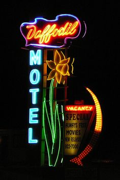 Vintage Neon Sign- Daffodil Motel, Tacoma, Wash.