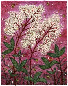 https://flic.kr/p/8q5GEo | Meadowsweet new with the Meadowsweet.  I made my usual background out of a hundred or so scrap pieces, but then I added colour with Jacquard Textile paints.  I
