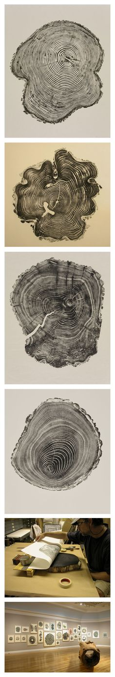 De l'encre, du papier et des souches d'arbres. L'artiste américain Bryan Nash Gill réalise une série d'impressions intitulée « Woodcuts ». Le résultat, très graphique, présente une étonnante similitude avec nos propres empreintes digitales. | 2012 Berkshire Museum