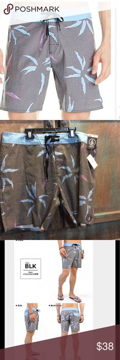 """Volcom mens board shorts SZ 38 NWT """"pairy halms"""" Volcom mens board shorts. Blue and grey colors. Size 38 men's. Design is called """" pairy halms"""" new with tags. Volcom Shorts"""