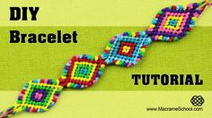 Macramé Indian Bracelet Tutorial (Colorful Diamond Chain Pattern) #Macramé #Jewelry #Tutorial