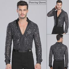 latin dance tops Picture - More Detailed Picture about Males Latin Shirt Adult Latin Dance Tops Clothing For Dance Deep V Neck Man Long Sleeve Dance Dress Waltz/Tanto/Rumba Dancewear Picture in Latin from Guangdong Dancing Queen Garment Co. Pole Dancing Clothes, Ballet Clothes, Hip Hop Dance Outfits, Figure Skating Outfits, Dance Tops, Latin Dance, Ballroom Dance, Girl Dancing, Gentleman Style