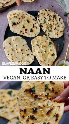 Dairy Free Naan Bread, Gluten Free Flatbread, Yeast Free Breads, Recipes With Naan Bread, Gluten And Dairy Free Bread Recipe, Vegan Flatbread Recipes, Vegan Naan, Naan Recipe, Vegan Bread