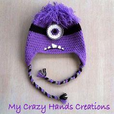 Purple minion crochet hat, Evil Minion hat