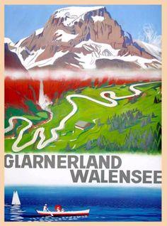 Glarnerland-Walensee-Lake-Switzerland-Swiss-Vintage-Travel-Art-Poster-Print