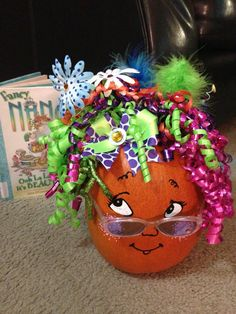 Our 'Fancy Nancy' pumpkin that won first place in the contest! Pumpkin Books, Pumpkin Art, Pumpkin Crafts, Pumpkin Ideas, Pumpkin Decorating Contest, Pumpkin Contest, Halloween Pumpkins, Fall Halloween, Halloween Decorations