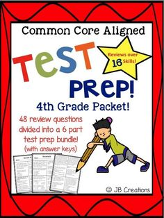 Prepare students for PARCC, Smarter Balanced, & other Common Core Aligned Tests! 48 questions focusing on key standards such as cause/effect, figurative language, point of view, theme, mood, vocabulary and more than 10 other skills are included. Answer keys are provided for all. https://www.teacherspayteachers.com/Product/4th-Grade-Test-Prep-for-Common-Core-Aligned-Tests-Parcc-Smarter-Balanced-1709398