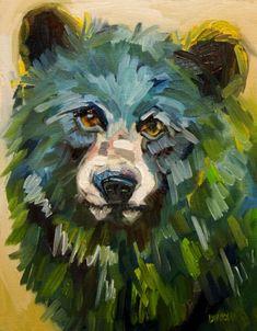 ARTOUTWEST BLACK BEAR ART OIL PAINTING WILD LIFE DIANE WHITEHEAD -- Diane…