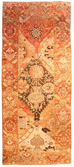 A Turkish Oushak runner BB3881 - by Doris Leslie Blau.  An early 20th century Turkish Oushak (Ushak) antique runner, the field with an overall panel design stepped enlarge ...