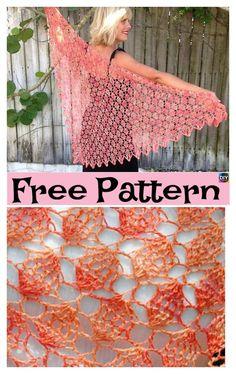 Victoria Crochet Lacy Shawl – Free Patterns #freecrochetpatterns #shawl #crochetlace