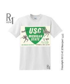 Michigan State football shirt by ROW 1™ made from an authentic Michigan State vs. USC football ticket from 1963. Perfect vintage college football shirt for the 2012 college football season.