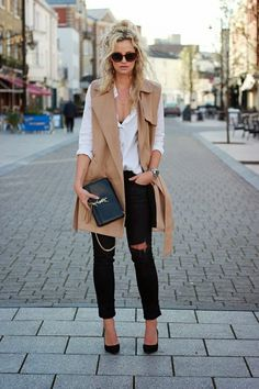 white-shirt-ripped-jeans-and-camel-vest via
