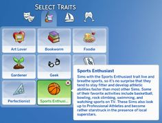Mod The Sims - Sports Enthusiast Trait (Teen-Elder) Sims 4 Mods Clothes, Sims 4 Clothing, Sims Traits, Sims 4 Toddler, Toddler Hair, The Sims 4 Packs, Sims 4 Collections, Sims 4 Game Mods, Sims 4 Gameplay
