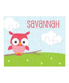 Look what I found on #zulily! Owl Personalized Puzzle by sarah + abraham #zulilyfinds FOR SADIE