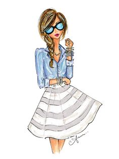 Fashion Illustration Print Chambray and Stripes by anumt on Etsy, $25.00