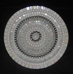 White circle of glass mosaic
