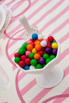 colorful candies in white glass sunday cup