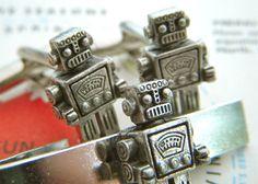 Men's Cufflinks Silver Robot Cuff Links & Robot by CosmicFirefly, $35.00