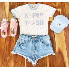 K-Pop Trash Ringer Tee ($19) ❤ liked on Polyvore featuring tops, t-shirts, outfits, silver, women's clothing, scoop-neck tees, blue jersey, cuff shirts, blue top and blue tee
