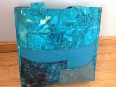 Batik tote bag, zippered top, 3 pockets outside, washable cotton, 13x 13x 4 in. teal, muted greens, fully lined, 30 in. straps, knitting bag by HarneysHandmades on Etsy