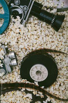 Cinema cameras, reels and popcorn. by kkgas - Stocksy United Cinema Date, Cinema Ticket, Cinema Wallpaper, Wallpaper Backgrounds, Cinema Quotes, Cinema Posters, Cinema Popcorn, Camera Aesthetic, Wallpapers Tumblr