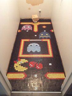 So my brother finished tiling his toilet Arcade, Wet Room Flooring, Geek Home Decor, Estilo Geek, Gaming Lounge, Bathroom Floor Tiles, Tile Floor, Nerd Cave, Video Game Rooms